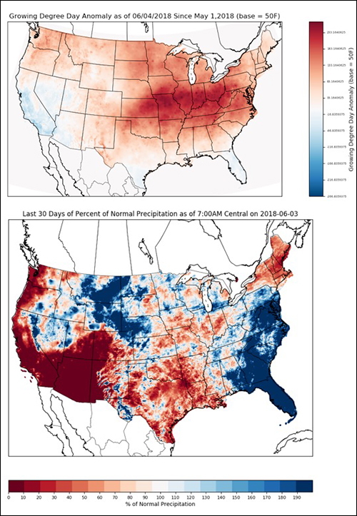 climate map for 2018 growing season