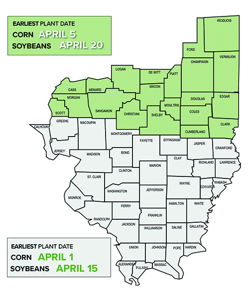 Earliest plant date for corn and soybeans in midwest