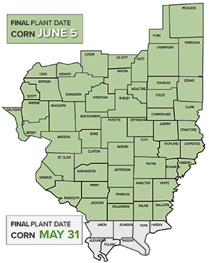 Final plant date map for corn in midwest